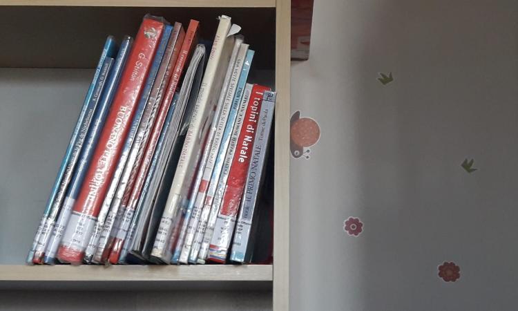 foto dello scaffale di libri per bambini a tema natalizio